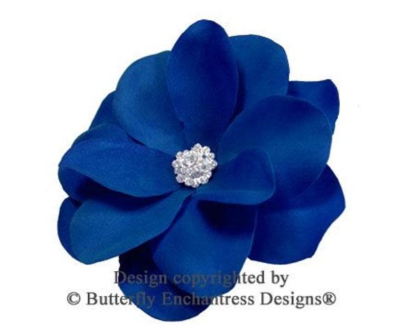 Rhinestone Cobalt Blue Gardenia Flower by ButterflyEnchantress