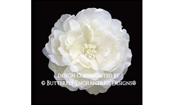 Pearl Cluster Ivory Ellabelle Peony Bridal Hair Flower