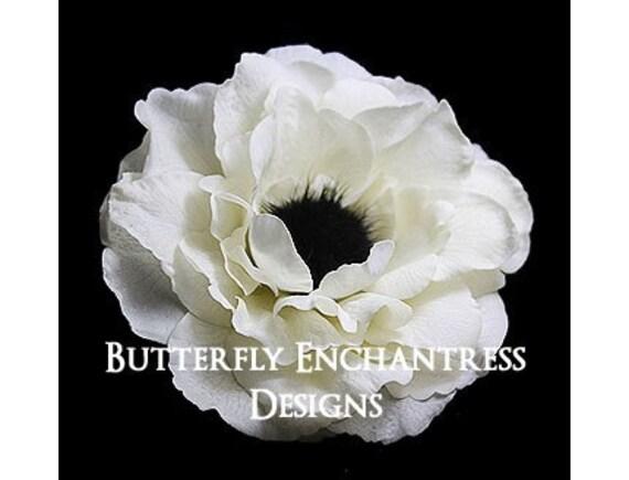 Ivory Rachelle Anemone Flower Bridal Hair Clip