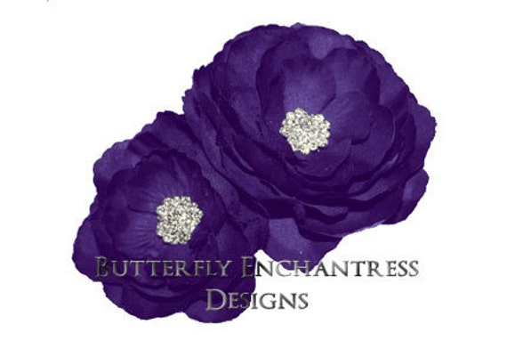2 Purple English Rose Bridal Hair Flower Clips with Rhinestone centers