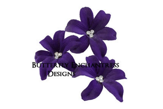 Bridal Hair Flowers, Wedding Flower Headpiece, Hair Accessory - 3 Dark Purple Wild Orchid Flower Hair Pins - Beach Wedding