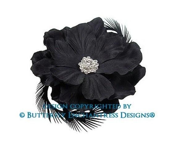Black Bridal Hair Piece, Wedding Hair Flower Accessory, Black Tie Event - Crystal Black Wild Magnolia Flower Feather Hair Clip