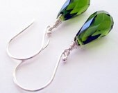 Olive Glass Drops on Sterling Silver Earrings by DBrownDesigns.etsy.com