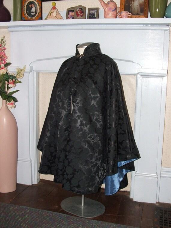 Victorian Black Brocade cape