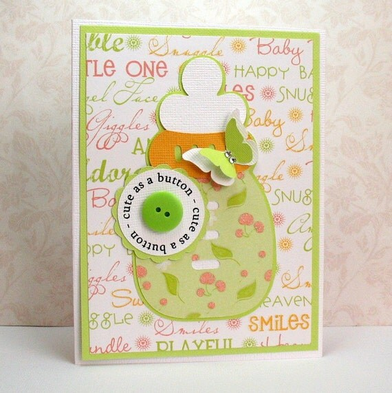 baby shower or congratulations card paper pieced cute as a button