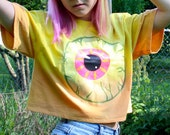 RESERVED for  fractalpixie - Eyeball - Handpainted Loose Crop Top