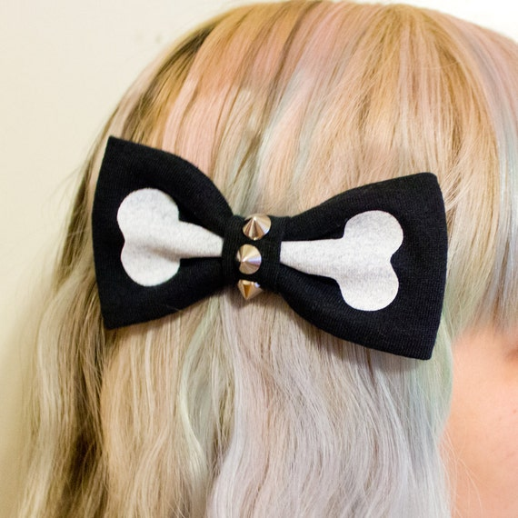 Black & White - Studded Screen Printed Bone Bow Hair Clip
