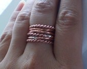 Simply Stacked and Twisted Copper Rings - Set of 6