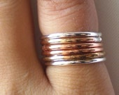 Simply Stacked Rustic Organic Ring Sampler - Sterling Silver Copper and Red Brass - Set of 6