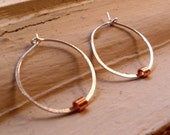 Simply Spinnerette Reclaimed Whisper Thin Sterling Silver and Copper Hoops - Large Size