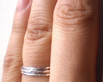 Simply Skinny Stacked Sterling Silver Rings - Set of Three - Hammered Finish