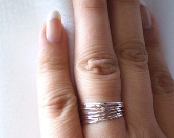 Simply Skinny Stacked Polished Organic Rustic Sterling Silver Rings - Lucky Set of 7
