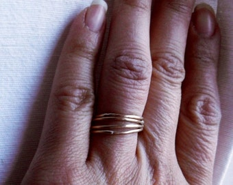 Simply Skinny Stacked 14 K Gold Filled Rings - Set of Four