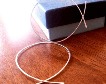 Simple Rustic Organic Open Ended Whisper Thin Hoops - LARGE Size