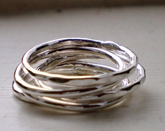 Simply Stacked Thick Sterling Silver Rings - Set of 5