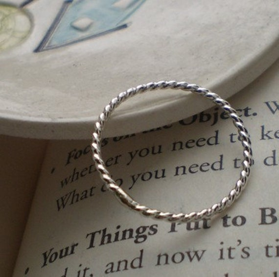 One Simply Skinny Stacked Twisted Sterling Silver Stacking Band