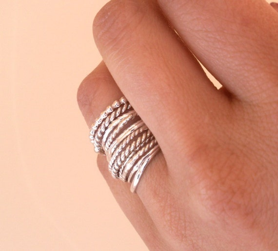 Design Your Own - Simply Skinny Rustic Sterling Stacking Rings - Custom Set of 12