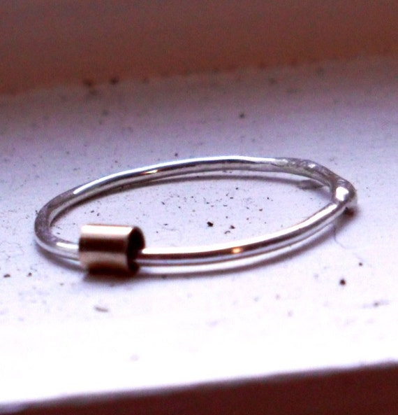 One Simply Skinny Spinnerette Rustic Organic Sterling Silver and 14K Gold Filled Stacking Ring