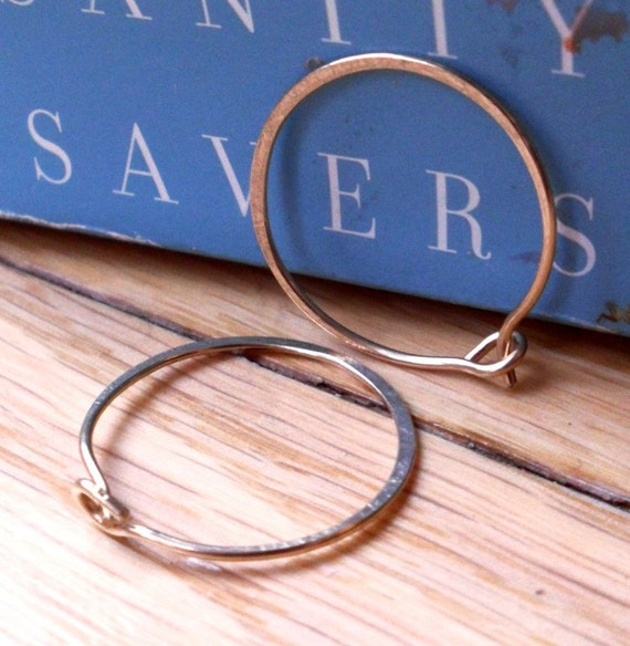 Simple Rustic Organic 14K Gold Filled Whisper Thin Everyday Hoops - Medium Size