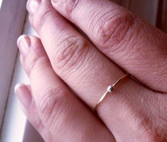 One Simply Skinny Spinnerette Rustic Organic 14K Gold Filled & Sterling Silver Stacking Ring