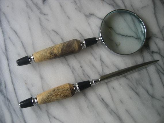 Magnifying Glass and Letter Opener Set (Buckeye Burl)