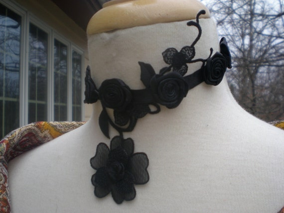 Black roses neck tattoo choker goth burlesque by for Gothic neck tattoos