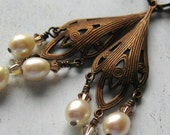 Warm Antique Brass and Pearl Chandelier Earrings