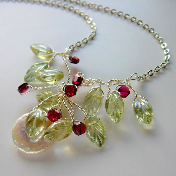 Coin Pearl, Garnet, Leaf Wire Wrapped Necklace