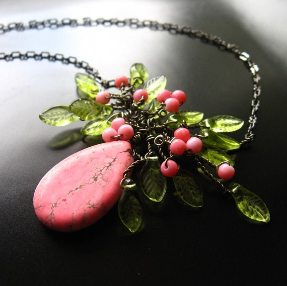 Wire Wrapped Cherry Blossom Necklace on Gunmetal Chain