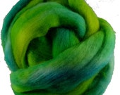 Hand Dyed Corriedale Wool Roving in Turquoise and Lime Green, hand dyed for spinning and felting fun, 16 oz.
