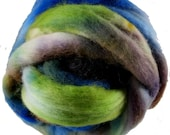 Hand Dyed Corriedale Wool Roving, Blue, Lime Green, Brown, for Spinning or Felting, 16 oz.