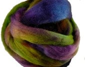 Hand Dyed Corriedale Wool Roving,Purple, Green, Turquoise for Spinning or Felting, 8 oz.