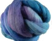 Hand Dyed Corriedale Wool Roving, 'Crocus' Colorway,Turquiooi, Purple, for Spinning or Felting, 4 oz.