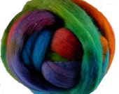 Hand Dyed Corriedale Wool Roving, 'Carnival' Colorway, for spinning or felting