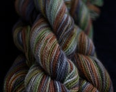 Hand Dyed Yarn, Wool/Mohair Yarn, Green, Brown, Grey 'Walk in the Woods Evening'
