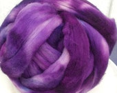 Hand Dyed Corriedale Wool Roving in purples, hand dyed for spinning and felting fun, 16 oz.