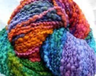 Carnival Slubby Nubby Wool Yarn, hand painted, bulky