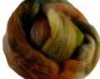 Hand Dyed Austrailian Wool Roving, Brown, Green, Grey, 4 oz.