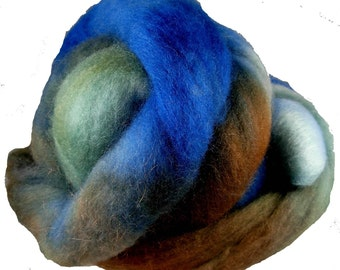 Hand Dyed Corriedale Wool Roving, 'Forest' Colorway, Green, Blue, Brown, for Spinning or Felting