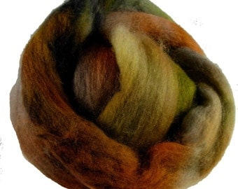 Hand Dyed Corriedale Wool Roving, 'Woodsy' Colorway, Green, Blue, Brown, for Spinning or Felting, 4 oz.