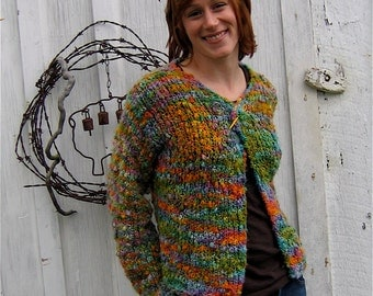 Cardigan Knitting Pattern, Bulky Yarn, Easy