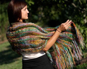 Wrap Me Up Buttercup, Rectangle Version, Knitting Pattern, Using 'Biggie' hand dyed Yarn