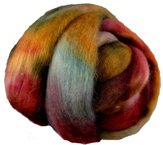 Hand Dyed Corriedale Wool Roving, Red, Rush, Teal, for Spinning or Felting, 8 oz.