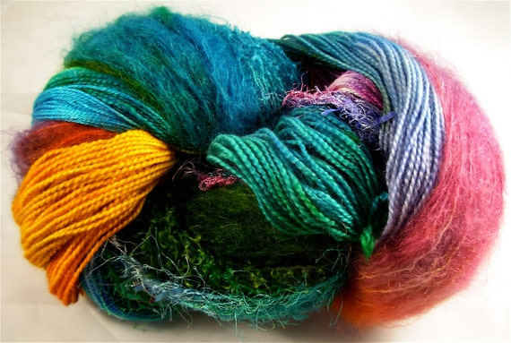 Hand Dyed Wool Yarn, 600 yards, 'Carnival' colorway, Knitting for Shawls, Vests
