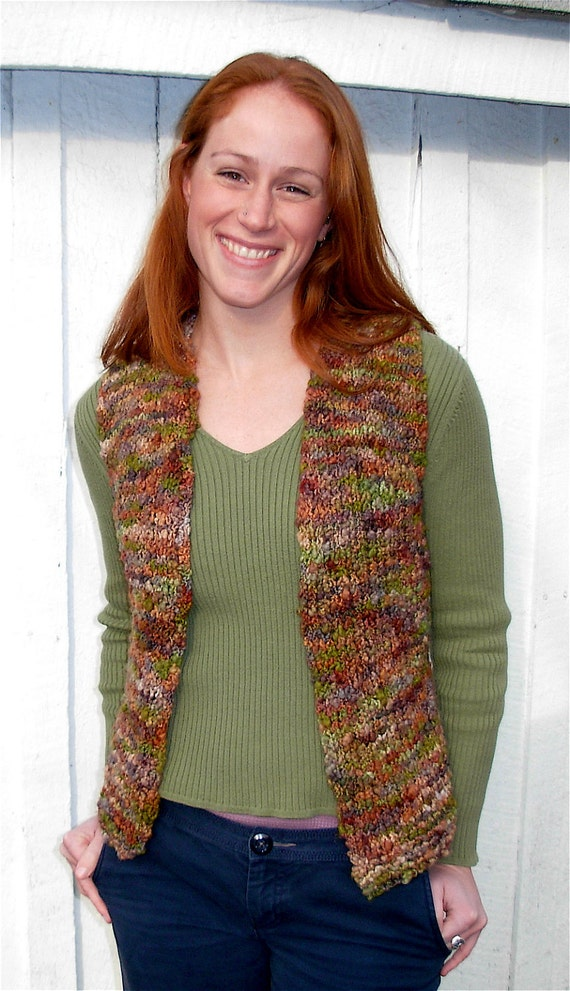 Knitting Pattern Vest Bulky Yarn : Vest Knitting Pattern Bulky Yarn Easy by dancingleaffarm ...