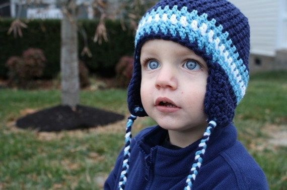 PDF Pattern Crocheted Earflap Beanie (Sizes newborn, 0-3m, 3-6m, 6-9m, 9-12m, & 12-24m) Instant Download