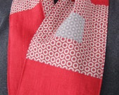 Linen Scarf - Red Italian linen, red and gray cotton prints