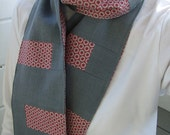 Linen Scarf - Grey linen, red and grey cotton