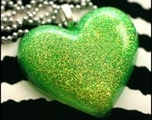 Toxic - Resin GREEN Heart Necklace