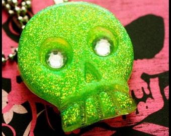 Slime Green Skull - Resin Necklace